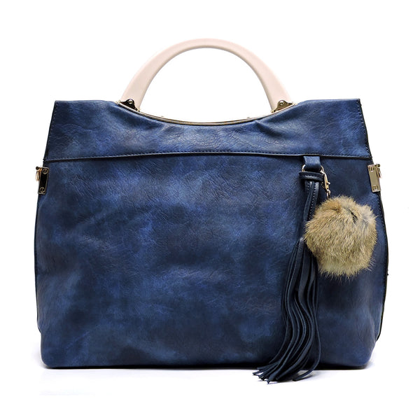 Acrylic Round Top Handle Pom Tassel Satchel [D0329-BLUE]