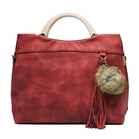 Acrylic Round Top Handle Pom Tassel Satchel [D0329-RED]