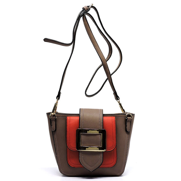 Buckle Flap Colorblock Crossbody Satchel [D0326-STONE]