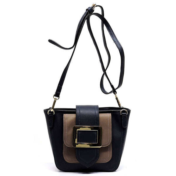 Buckle Flap Colorblock Crossbody Satchel [D0326-NAVY]