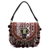 Emboidered Aztec Print Bohemian Satchel [BH1171-RED]