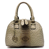 Ostrich Multi Compartment Dome Satchel [LMS011A BROWN]