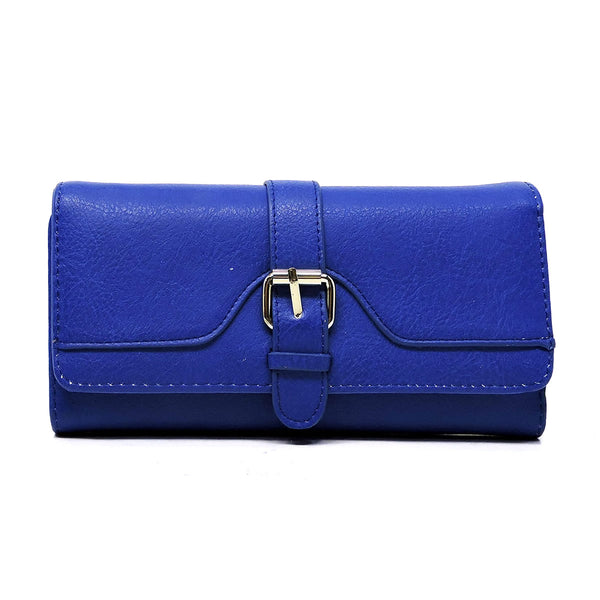 Fashion Buckle Trifold Clutch Wallet [W4989QC-BLUE]