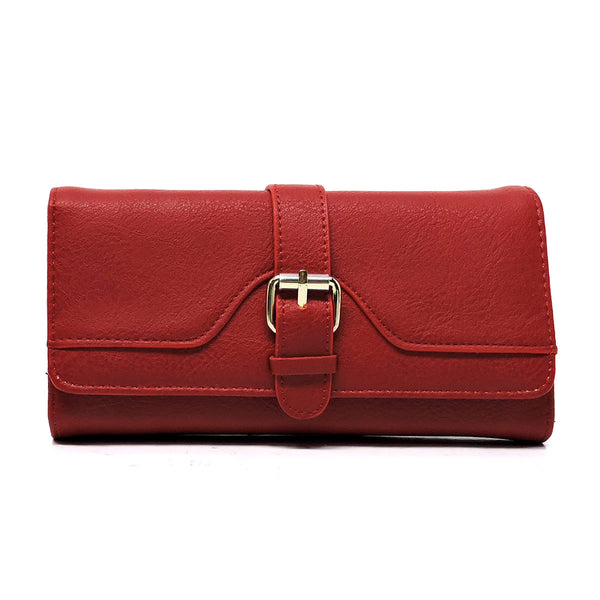 Fashion Buckle Trifold Clutch Wallet [W4989QC-RED]