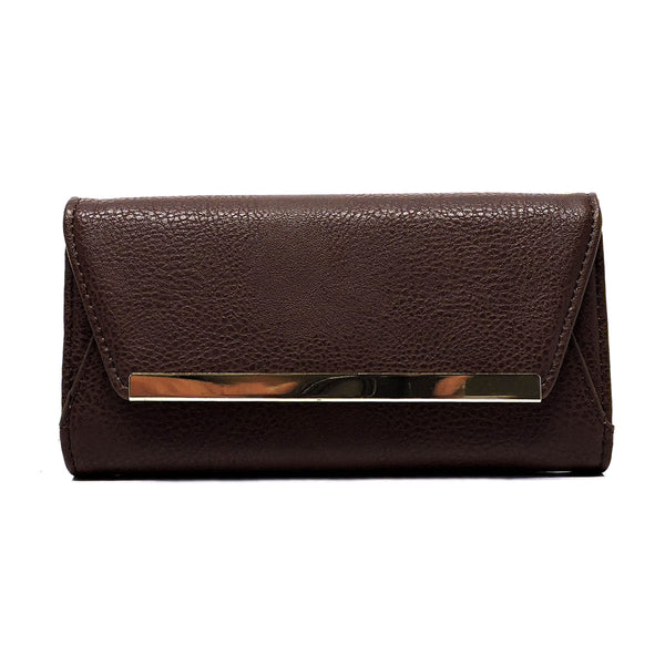 Fashion Envelope Clutch Wallet Wristlet [W913HE-BROWN]