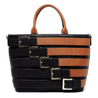 Belted Top Handle Tote Satchel [80956B-BROWN]