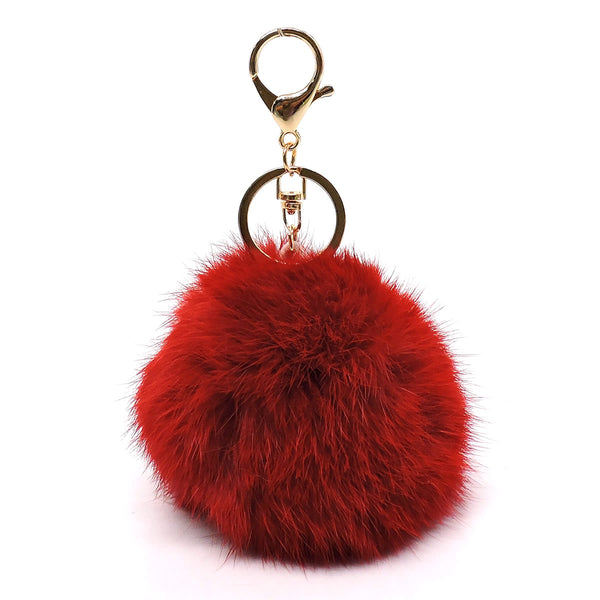 Genuine Rabbit Fur Pom Pom Keychain [PK72VM-RED]