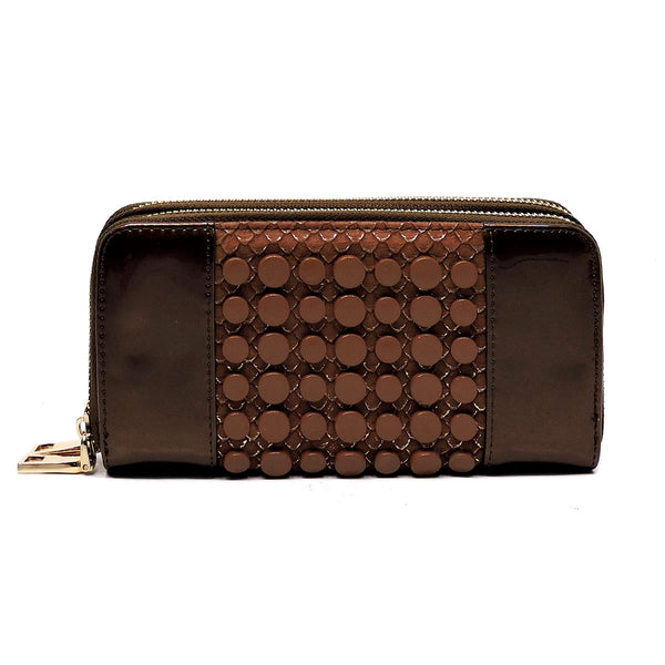 Croc Round Studded Glossy Double Zip Around Wallet Wristlet [MS108W-BROWN]