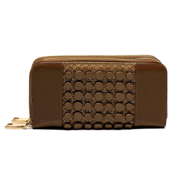 Croc Round Studded Glossy Double Zip Around Wallet Wristlet [MS108W-BEIGE]