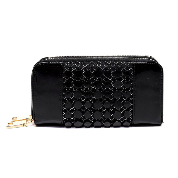 Croc Round Studded Glossy Double Zip Around Wallet Wristlet [MS108W-BLACK]