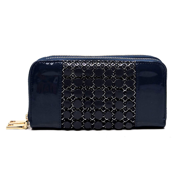 Croc Round Studded Glossy Double Zip Around Wallet Wristlet [MS108W-NAVY]