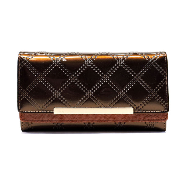 Embossed Quilt Print Trifold Wallet [WD4999FS-BRONZE]