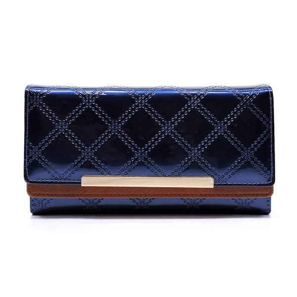 Embossed Quilt Print Trifold Wallet [WD4999FS-NAVY]