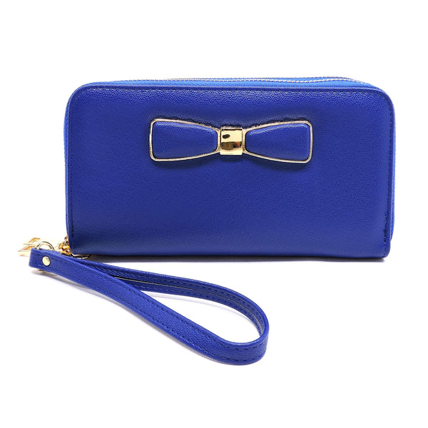 Fashion Bow Double Zip Around Wallet Wristlet [WT0057W-BLUE]
