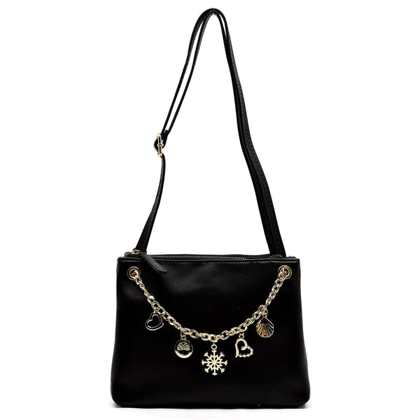 Chain Charms Clutch & Crossbody Bag [N0078-BLACK]