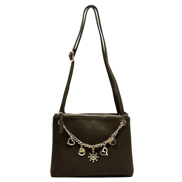 Chain Charms Clutch & Crossbody Bag [N0078-OLIVE]