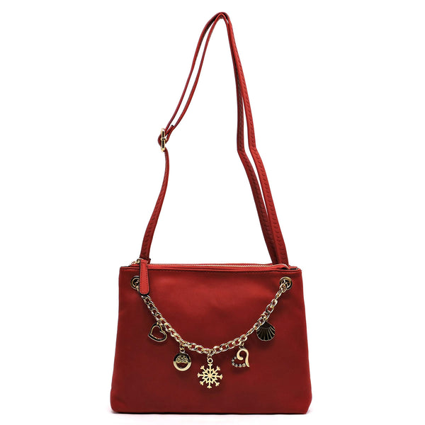 Chain Charms Clutch & Crossbody Bag [N0078-RED]