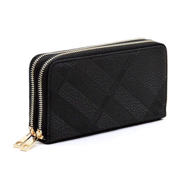 Embossed Plaid Check Print Double Zip Around Wallet [TE028-BLACK]