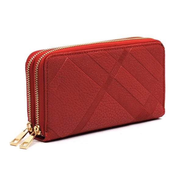 Embossed Plaid Check Print Double Zip Around Wallet [TE028-RED]
