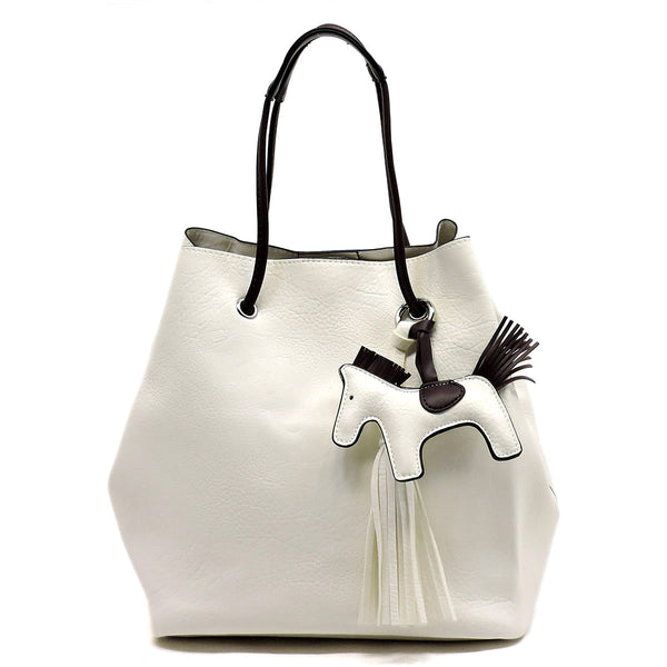 Fashion 2-in-1 Bucket Satchel with Pony Charm [L0102-WHITE]