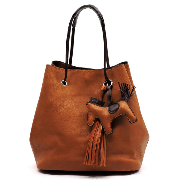 Fashion 2-in-1 Bucket Satchel with Pony Charm [L0102-BROWN]