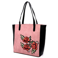 Embroidered Flower Colorblock Shopper [PC1430 PINK]