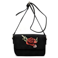 Embroidered Flower Crossbody Bag [PC1435 BLACK]