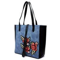 Embroidered Flower Colorblock Shopper [PC1430 BLUE]