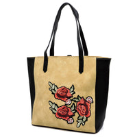 Embroidered Flower Colorblock Shopper [PC1430 BEIGE]