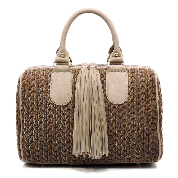 Chevron Quilted Velvet Tassel Zipper Boston Bag Satchel [JY0158 STONE]