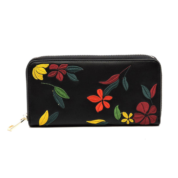 Embroidered Flower Zip Around Wallet [JCW1013 BLACK]