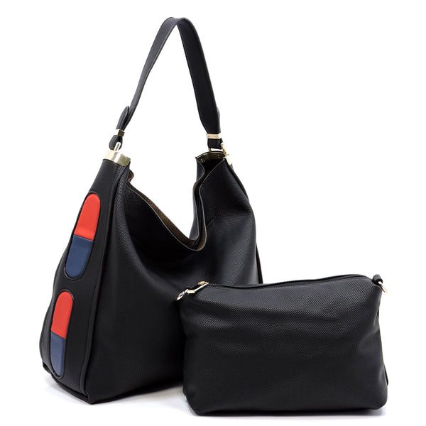 Fashion 2-in-1 Shoulder Bag Hobo [D0395 BLACK]