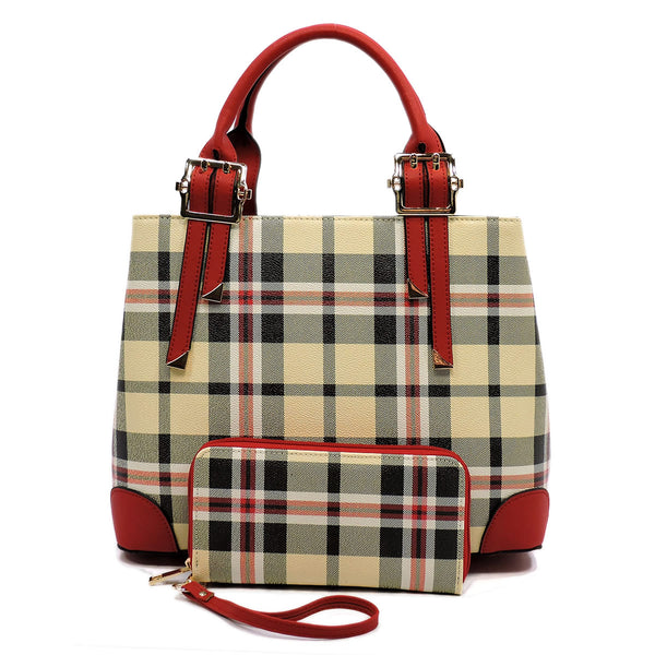 Plaid Check 2-in-1 Satchel [TA2668 RED]