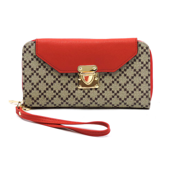 Check Printed Push Lock Wallet Wristlet [GD039 RED]
