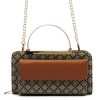 Check Printed Round Top Handle Crossbody Bag Clutch Wallet [GD038 TAN]