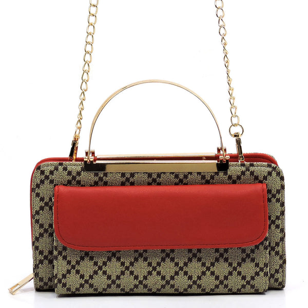Check Printed Round Top Handle Crossbody Bag Clutch Wallet [GD038 RED]