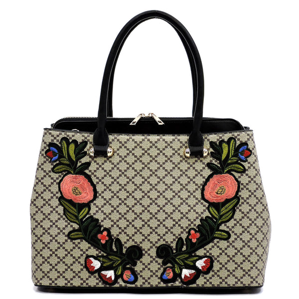 Diamond Check Embroidered Flower Satchel [GF1324 BLACK/TAN]