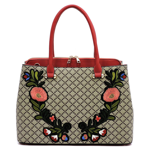 Diamond Check Embroidered Flower Satchel [GF1324 RED/TAN]