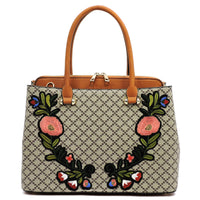 Diamond Check Embroidered Flower Satchel [GF1324 BROWN/TAN]