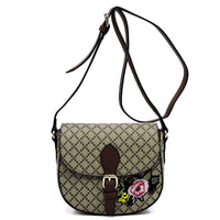 Diamond Check Embroidered Flower Saddle Crossbody Bag [GF2094 COFFEE/TAN]