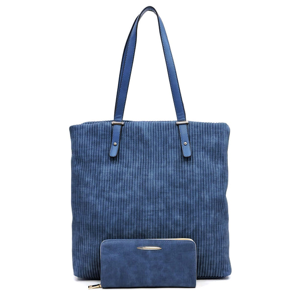 Corduroy Pleated 2-in-1 Tote [LMS018 DENIM]