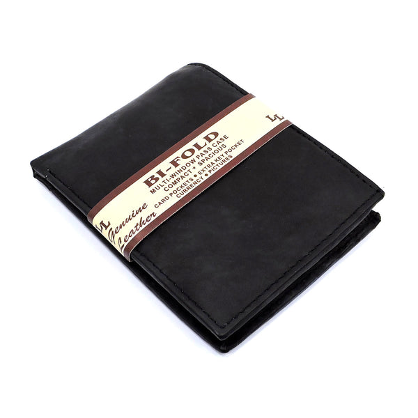 Cowhide Bi-fold Mens Wallet [A14MW BLACK]