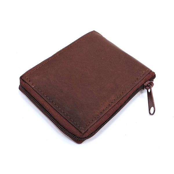 Cowhide Zip Around Mens Wallet [9605MW BROWN]