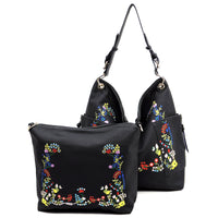 Embroidered Flower 2-in-1 Shoulder Bag [F0206 BLACK]