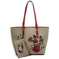 Embroidered Flower Diamond Check 2-in-1 Tote [GF1325 RED]
