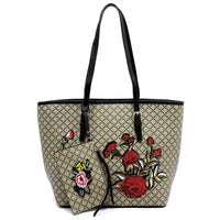 Embroidered Flower Diamond Check 2-in-1 Tote [GF1325 BLACK]