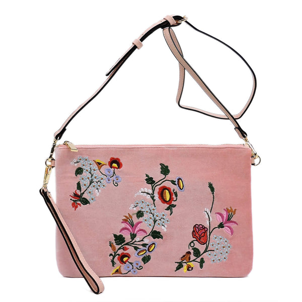 Embroidered Flower Velvet Clutch [JY0187 BLUSH]