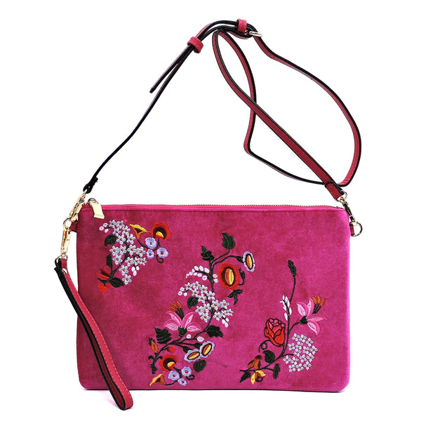 Embroidered Flower Velvet Clutch [JY0187 MAUVE]