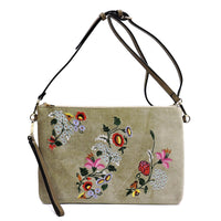 Embroidered Flower Velvet Clutch [JY0187 STONE]