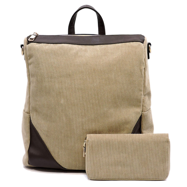 Corduroy Convertible Backpack & Wallet Set [LHU0421W TAUPE]
